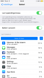 Screenshot fra iOS 9 beta 1 Her ses batterisparefunktionen
