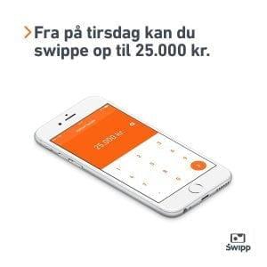 Swipp hæver beløbsgrænsen til 25.000 kroner