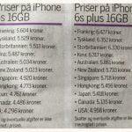Priser på iPhone 6S og iPhone 6S Plus i de første lande den kommer til salg i (Kilde: MetroXpress)
