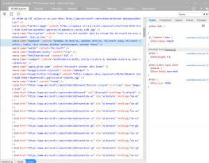 Kildekoden på Microsofts oktober2015 event site (Kilde: Wmpoweruser.com)