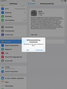 iOS 9 downloadfejl på iPad