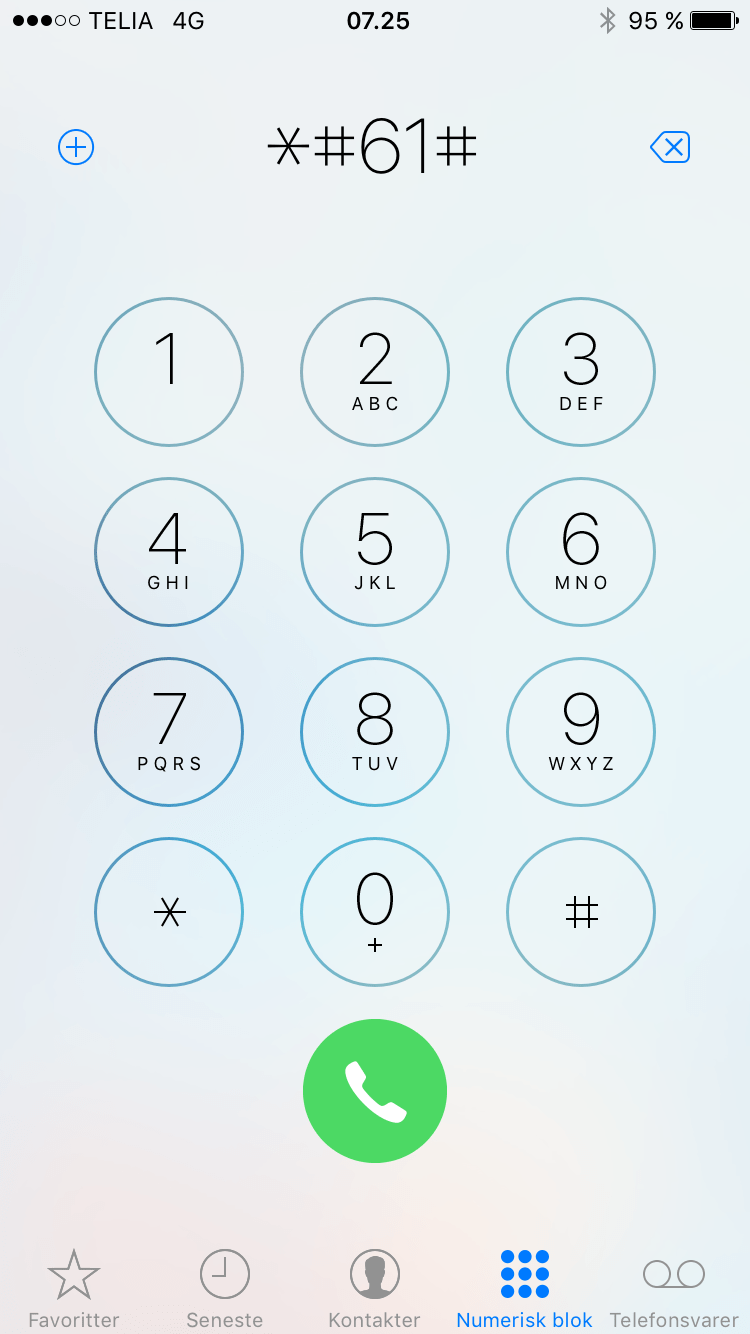 går direkte på telefonsvarer