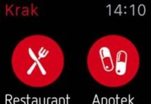 Screenshot fra Krak til Apple Watch applikationen
