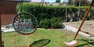 Testklip med gynge. Under gyngen ses store firkanter i stedet for græs