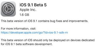 iOS 9.1 beta 5 klar til download