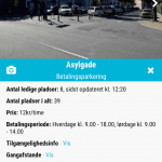 Screenshots fra applikationen OdenseParkering