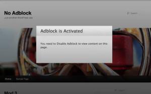 Eksempel på blokering af indhold hvis en adblocker er aktiveres (Kilde: No Adblock)