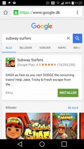Søgning efter app i Google Play (Foto: MereMobil.dk)