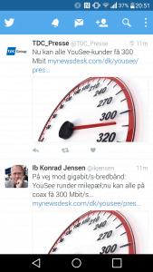Nyheden om 300 mbit/s fra YouSee smuttede ud på Twitter lidt for tidligt (Foto: MereMobil.dk)