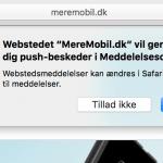 Sådan ser det ud, når en site spørger om du vil modtage popup-beskeder på Mac (Foto: MereMobil.dk)