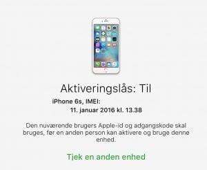 TJek af aktiveringslås på iPhone og iPad (Foto: MereMobil.dk)