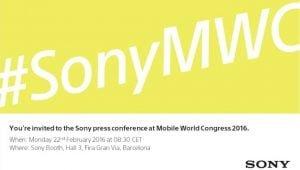 Invitationen til Sonys event på Mobile World Congress 2016