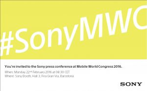 Invitation til Sony event på MWC 2016