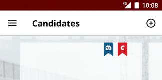 Screenshots fra applikationen Candidate
