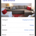 Screenshots fra DBA's redesignede Android-applikation