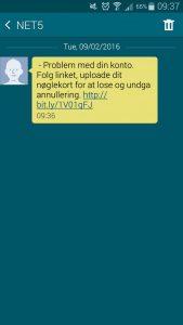 Forsøg på phishing af Nets informationer (Foto: Tweet)