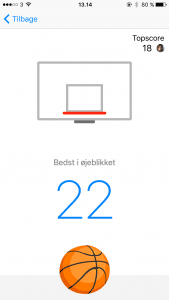 Screenshots fra Basketball i Facebook Messenger applikationen (Foto: MereMobil.dk)