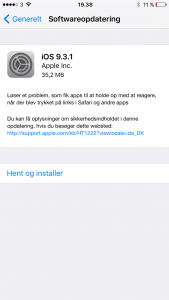 iOS 9.3.1 blev frigivet den 31. marts 2016 (Foto: MereMobil.dk)