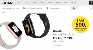 Prisen er faldet på Apple Watch hos Humac (Foto: MereMobil.dk)
