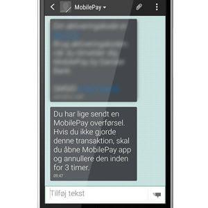 Fup-SMS forsøger at svindle vha. MobilePay (Foto: Danske Bank)