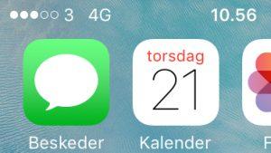 4G markering på en iPhone (Foto: MereMobil.dk)
