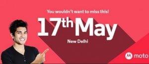 Invitation til Motorola event den 17. maj i New Delhi (Kilde: AndroidAuthority.com)