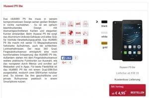 Huawei P9 Lite til salg på tysk webshop (Kilde GSMArena.com)