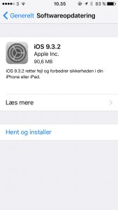 Apple har udsendt iOS 9.3.2 opdatering til iOS-enheder (Foto: Apple)