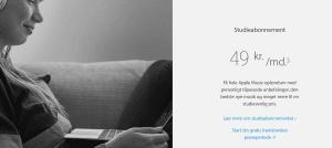 Apple Music klar med studierabat, så det nu kun koster 49 kroner om måneden for et abonnement, hvis man er studerende. (Foto: Apple)