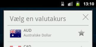 "Screenshots fra ""Nem Valutaomregner"""