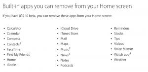 Disse apps kan du fjerne fra iOS 10 (Kilde: Apple)