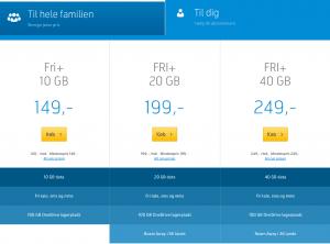 De nye mobilabonnementer hos Telenor - juni 2016 (Screenshot: MereMobil.dk)