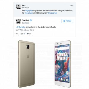 Carl Pei svarer på hvornår OnePlus 3 bliver tilgængelig i Soft Gold (Foto: OnePlus)