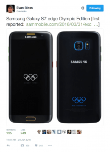 Samsung Galaxy S7 Edge Olympic Edition (Kilde: Evan Blass)