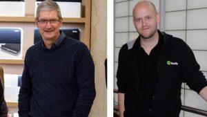 Apples chef, Tim Cook, og Spotifys Daniel Ek