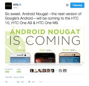 HTC-telefoner der opgraderes til Android N (Kilde: HTC)