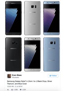EvLeaks aka Evan Blass har lækket billeder af den kommende Samsung Galaxy Note 7 (Kilde: Twitter / EvLeaks)