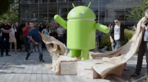 Android 7.0 Nougat - statuen foran GooglePlex