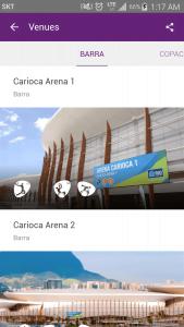Screenshots fra applikationen Rio 2016