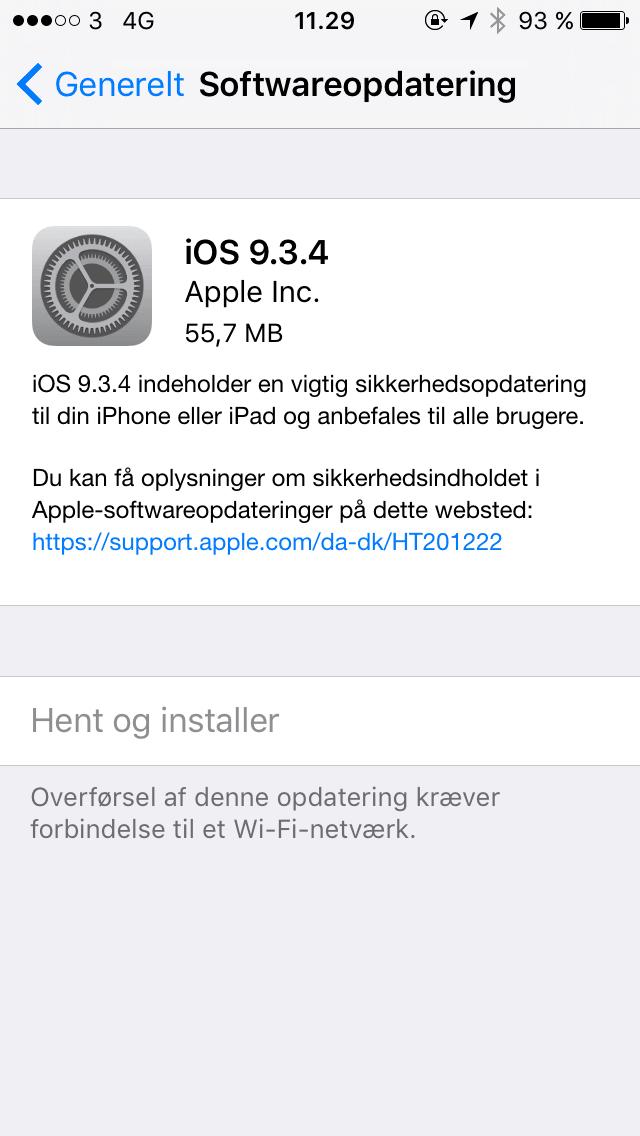 opdatering af iphone 4