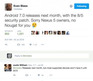EvLeaks teaser om kommende Android 7.0 Nougat frigivelse (Kilde: Twitter)