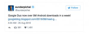 Sundar Pichai oplyser, at Google Duo applikationen nu er downloadet mere end 5 millioner gange på Android