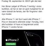 YouSee oplyser også, at de har udsolgt af iPhone 7 Plus enheder, samt iPhone 7 i Jet Black (Kilde: YouSee Mobil Facebook)