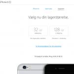 """iPhone 6S og iPhone 6S Plus findes nu """"kun"""" i varianter med 32 GB og 128 GB intern hukommelse (Kilde: Apple.com)"""