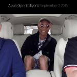 Tim Cook, Pharell Williams og James Cordon i bilen på vej mod Apple Event onsdag den 7. september 2016 (Foto: MereMobil.dk)