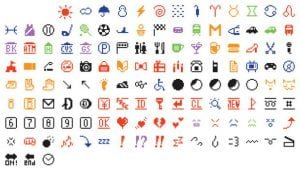 The set of 176 original emoji characters which have been donated to the Museum of Modern Art in New York City are seen in an undated handout image. Shigetaka Kurita/Gift of NTT DoCoMo/Museum of Modern Art/Handout via Reuters