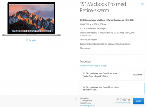 Priser i Danmark på Macbook Pro - 24/10 2016 (Foto: MereMobil.dk)