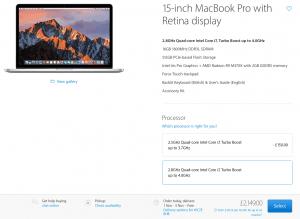 Priser i Storbritannien på Macbook Pro - 24/10 2016 (Foto: MereMobil.dk)