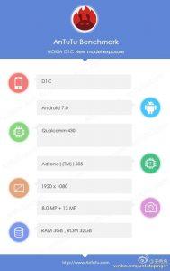 Dette skærmbillede sætter for alvor gang i spekulationerne om Nokia D1C (Foto: Weibo.com/antutupingce)