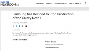 Samsung statement 11. oktober 2016